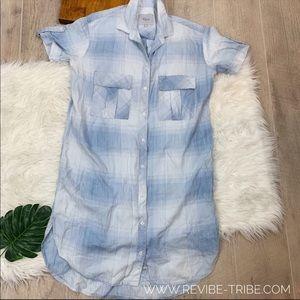 Rails Blue Plaid double pocket Casual dress 2397